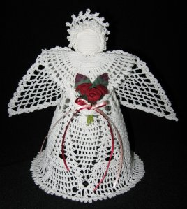 Crochet angel Crystal with a bouquet of roses