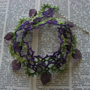 Blackberry necklace with purple leaf-shaped beads