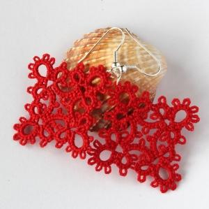 "Red ""Diamond"" frivolite earrings"