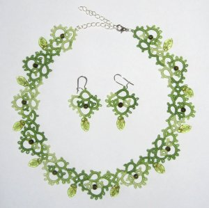 Green tatted necklace with leaf-shaped beads