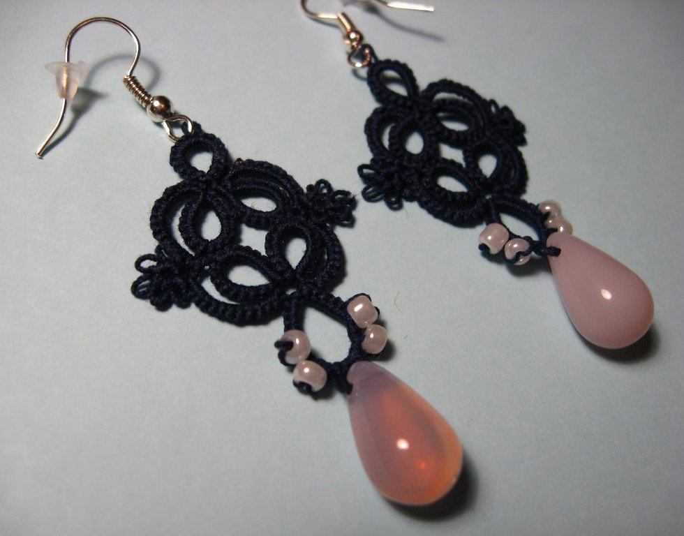 "Shuttle tatted classic earrings ""Simplicity"""