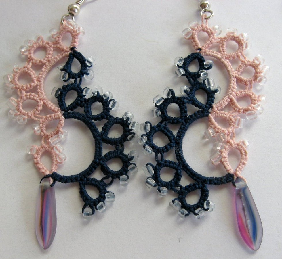Navy and dusky pink tatted earrings