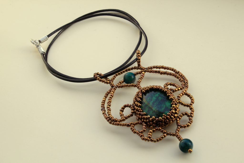 African gold handcrafted pendant with golden beads and chrysocolla large pendant with chrysocolla centerpiece golden beads and brown leather mozeypictures Choice Image