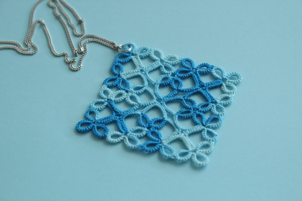 Blue handmade frivolite pendant
