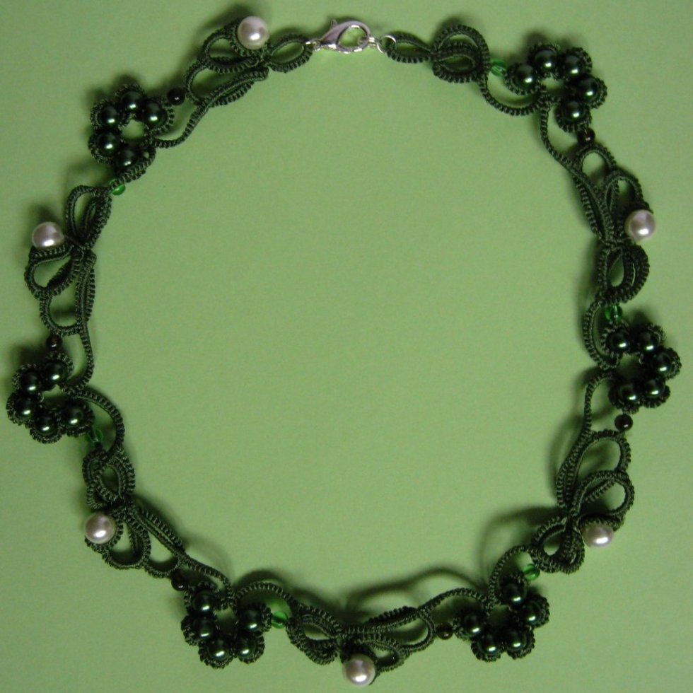Olive green frivolite necklace with pearl beads.