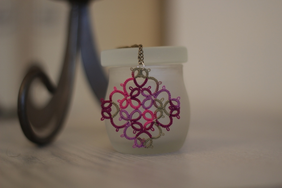 Lace hand-made pendant in vineyard colours