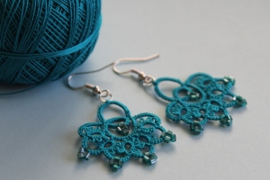 Lace turquoise frivolite handmade earrings