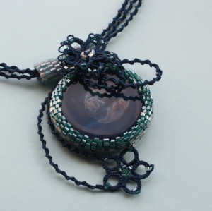 Moonlight - beaded necklace with blue agate center and frivolite details