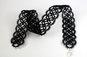 Black gothic necklace with silver-colour clasp