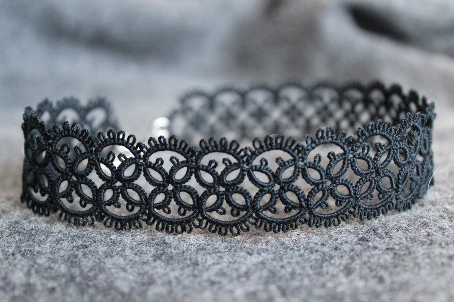 Handmade black lace chocker necklace