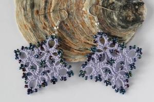 Handmade purple earrings, unique lace design