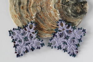Handmade purple earrings, unique lace design