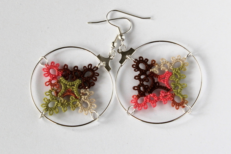 Lace handmade earrings, unique design.