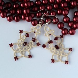 Unique earrings, handmade lace with beads