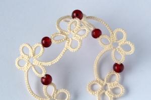 Detail of handmade flowery bracelet