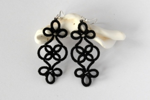 Unique jewellery, gothic earrings, handmade lace