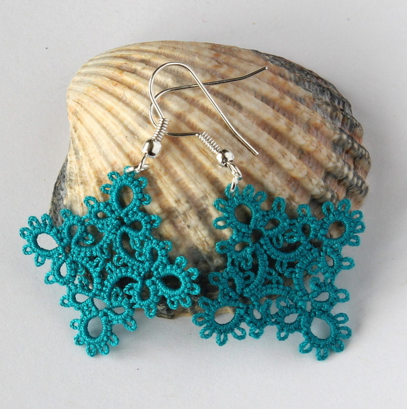 Teal earrings, handmade jewellery