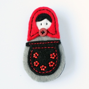 Hand-crafted felt brooch in gothic style
