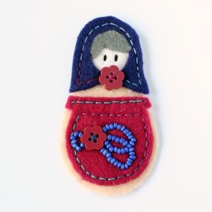 Felt handmade brooch - folky russian style
