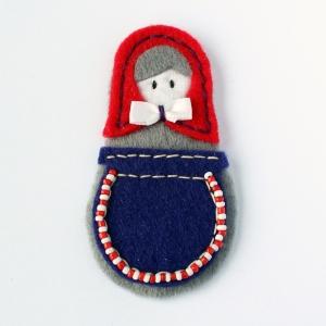 Handmade felt matriosha brooch