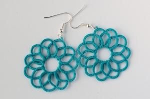 Ocean swirl tatted earrings.