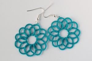 Ocean swirl tatted earrings.
