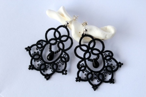 Handmade earrings, black lace with beads.