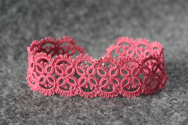 Fuchsia rose lace bracelet