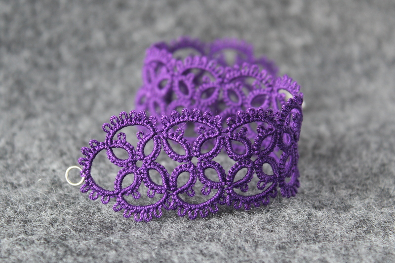 Purple bracelet handmade lace