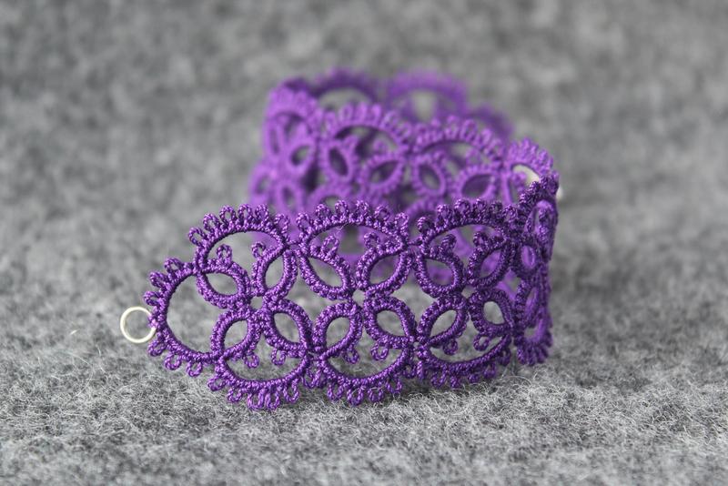 Purple bracelet handmade lace